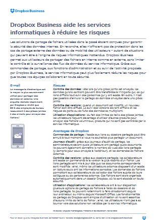 Dropbox Business aide les services  informatiques à réduire les risques