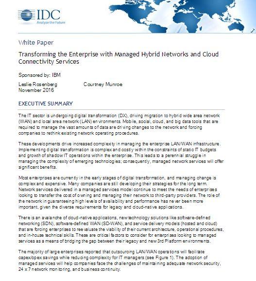 Transformer l'Entreprise par la gestion de réseaux hybrides et de services de connectivité au Cloud