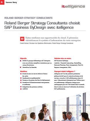 Roland Berger choisit itelligence pour la mise en œuvre de SAP Business ByDesign