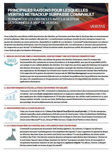 Les principales raisons pour lesquelles Veritas surpasse Commvault