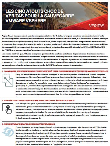 Les cinq atouts chocs de Veritas pour VMware Vsphere