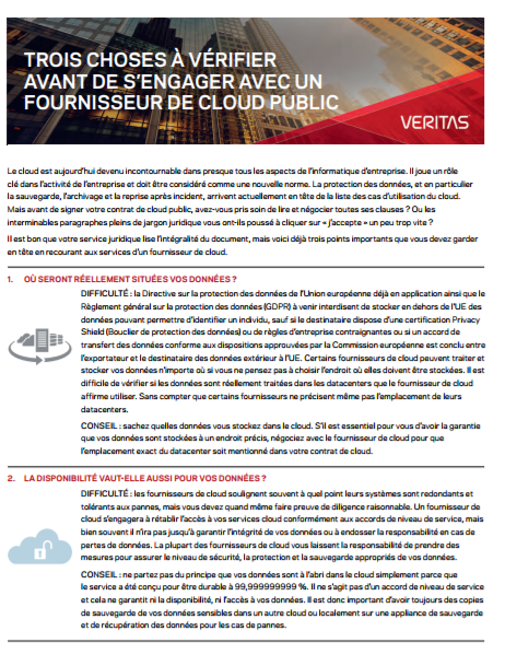 Trois choses à vérifier avant de s'engager avec un fournisseur de cloud public