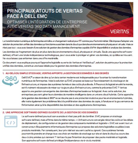 Principaux atouts de Veritas face à Dell EMC