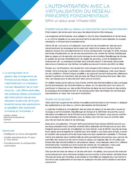 L'automatisation avec la virtualisation du réseau : principes fondamentaux