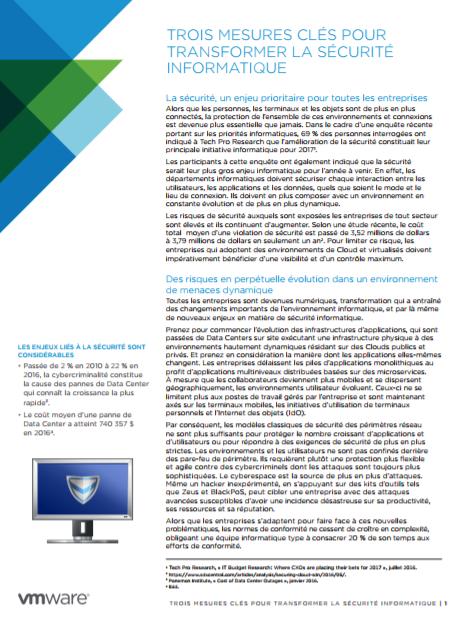 Trois mesures clés pour transformer la sécurité informatique