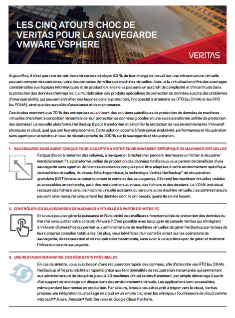Les cinq atouts choc de Veritas pour la sauvegarde Vmware vsphere