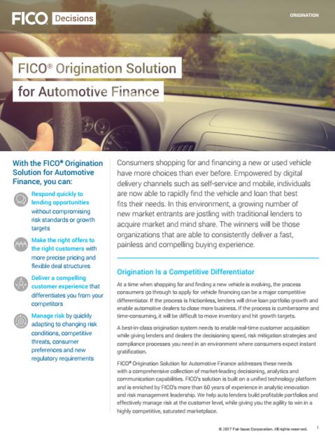 La solution Fico pour la finance automobile