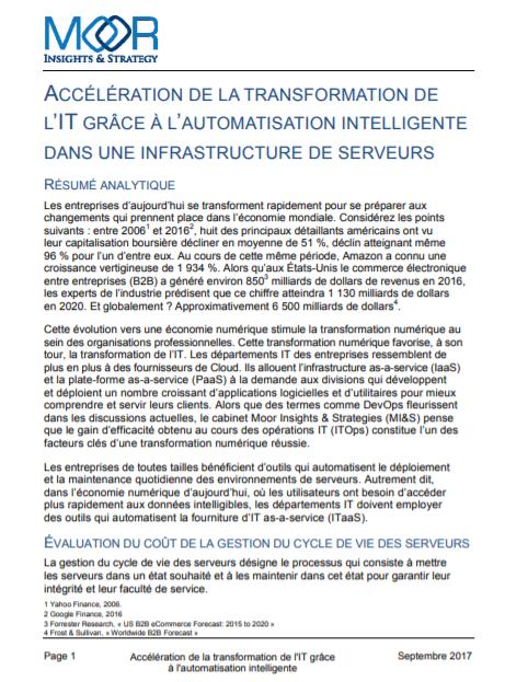Accélération de la transformation de l'IT grâce à l'automatisation intelligente dans une infrastructure de serveurs