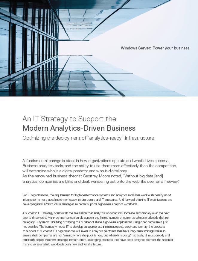 Stratégie IT de prise en charge des entreprises modernes axées sur l'analytique