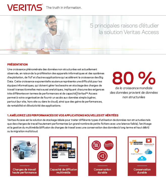 5 principales raisons d'étudier la solution Veritas Access
