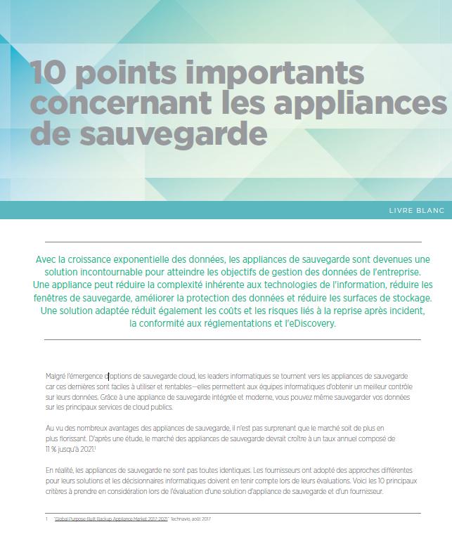 10 points importants concernant les appliances de sauvegarde