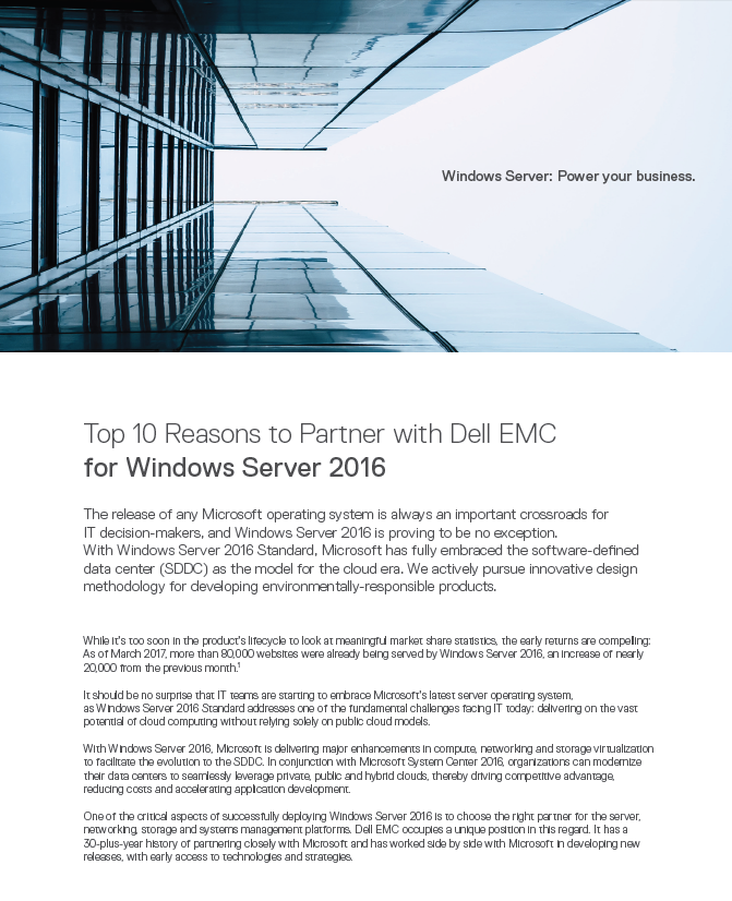 10 bonnes raisons de choisir Dell EMC comme partenaire pour le déploiement de Windows Server 2016