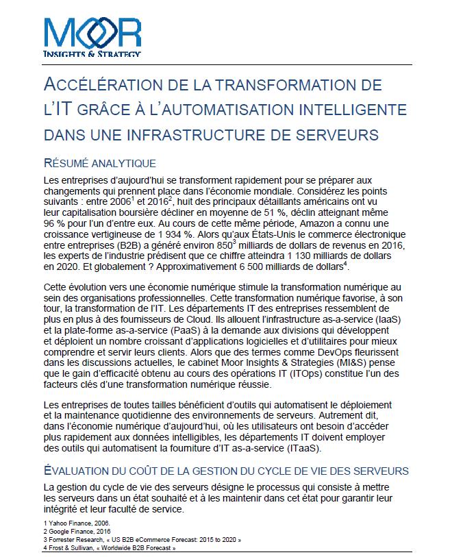 L'Accélération de la transformation de l'IT grâce à l'automatisation intelligente dans une infrastructure de serveurs