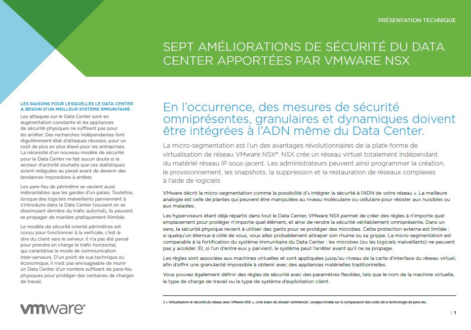 Sept améliorations de sécurité du data center apportées par vmware nsx
