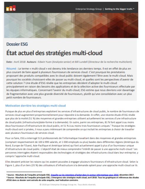 Etat actuel des stratégies multi-cloud