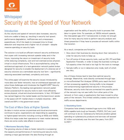 La sécurité à la vitesse de votre réseau