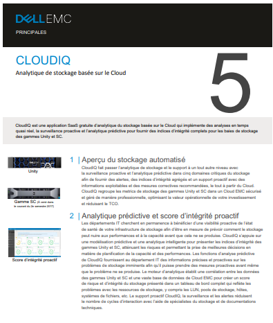 CloudIQ : Analytique de stockage basée sur le Cloud