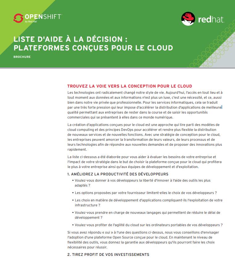 Liste d'aide à la décision : plateformes conçues pour le cloud