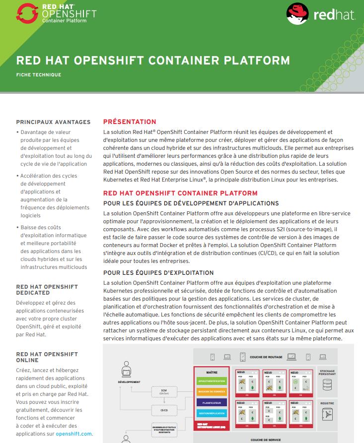 Découvrez la solution Red Hat® OpenShift Container Platform