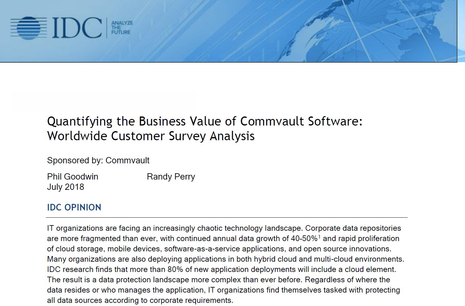 Quantification de la valeur commerciale du logiciel Commvault: Analyse mondiale des enquêtes clients