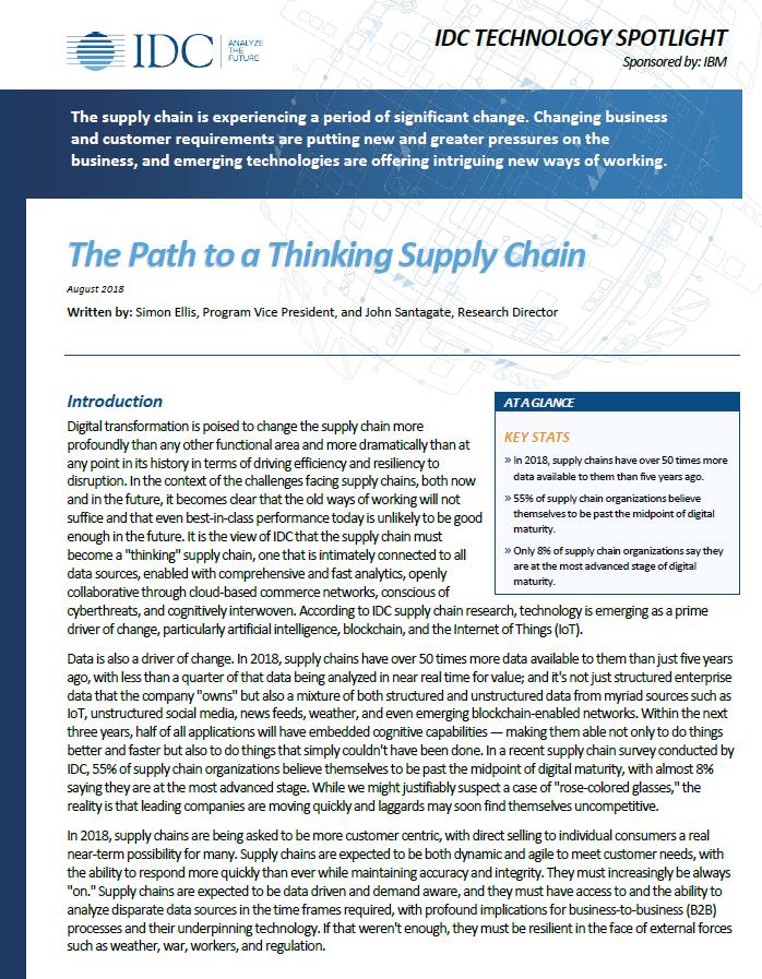 La voie pour un Supply Chain Réfléchi