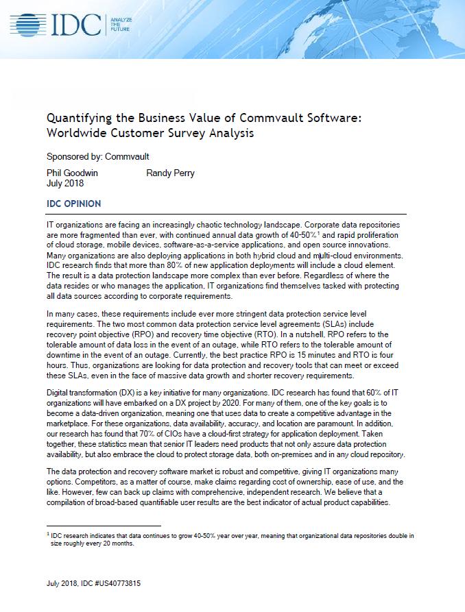 Business value des logiciels Commvault: sondage client à l'échelle mondiale