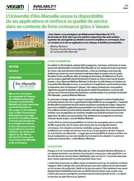 Success Story: L'Université d'Aix-Marseille assure la disponibilité de ses applications et renforce sa qualité de service dans un contexte de forte croissance grâce à Veeam