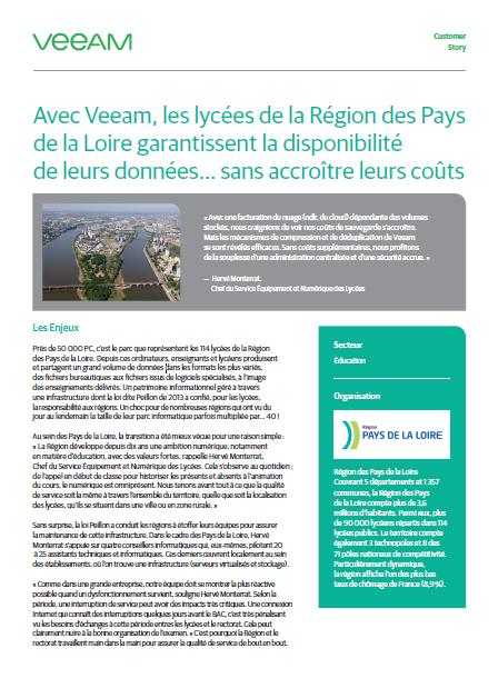 Success Story: Avec Veeam, les lycées de la Région des Pays de la Loire garantissent la disponibilité de leurs données… sans accroître leurs coûts