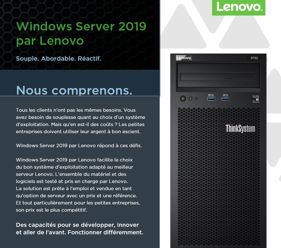 Windows Server 2019 par Lenovo: Souple, Abordable, Réactif.