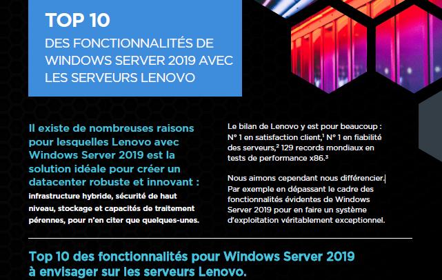 Top 10 des fonctionnalités pour Windows Server 2019 à envisager sur les serveurs Lenovo