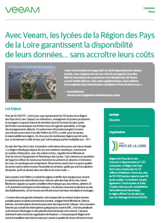 Avec Veeam, les lycées de la Région des Pays de la Loire garantissent la disponibilité de leurs données… sans accroître leurs coûts