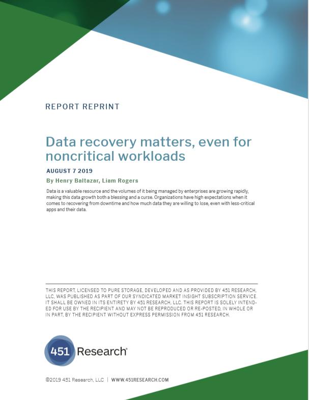 La récupération des données est importante, même pour les charges de travail non critiques.