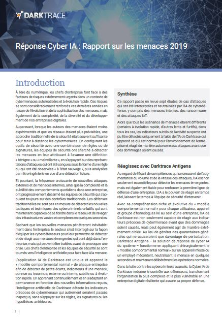 Réponse Cyber IA : Rapport sur les menaces 2019