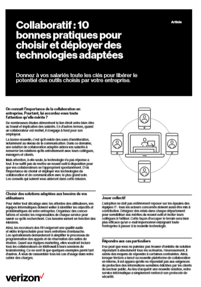 Collaboratif : 10  bonnes pratiques pour choisir et déployer des technologies adaptées