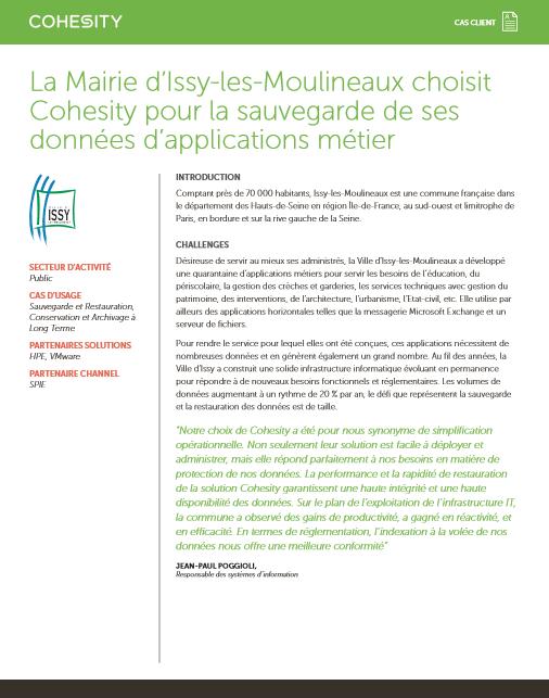 La Mairie d'Issy-les-Moulineaux choisit Cohesity pour la sauvegarde de ses données d'applications métier