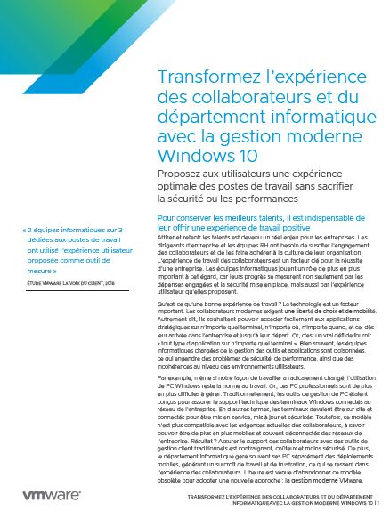 Transformez l'expérience des collaborateurs et du département informatique avec la gestion moderne Windows 10