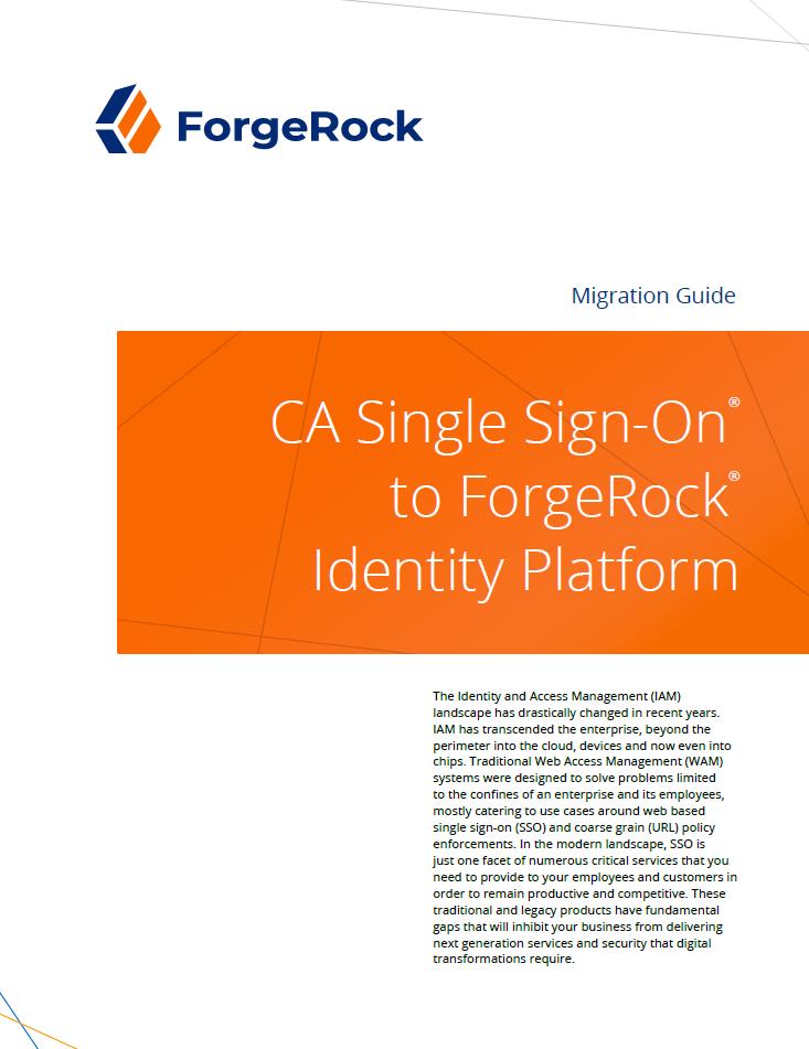 CA Single Sign-On® sur la plate-forme d'identité ForgeRock