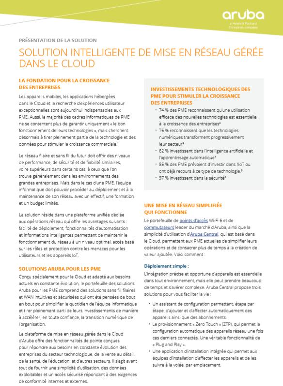 Solution intelligente de mise en réseau gérée dans le cloud