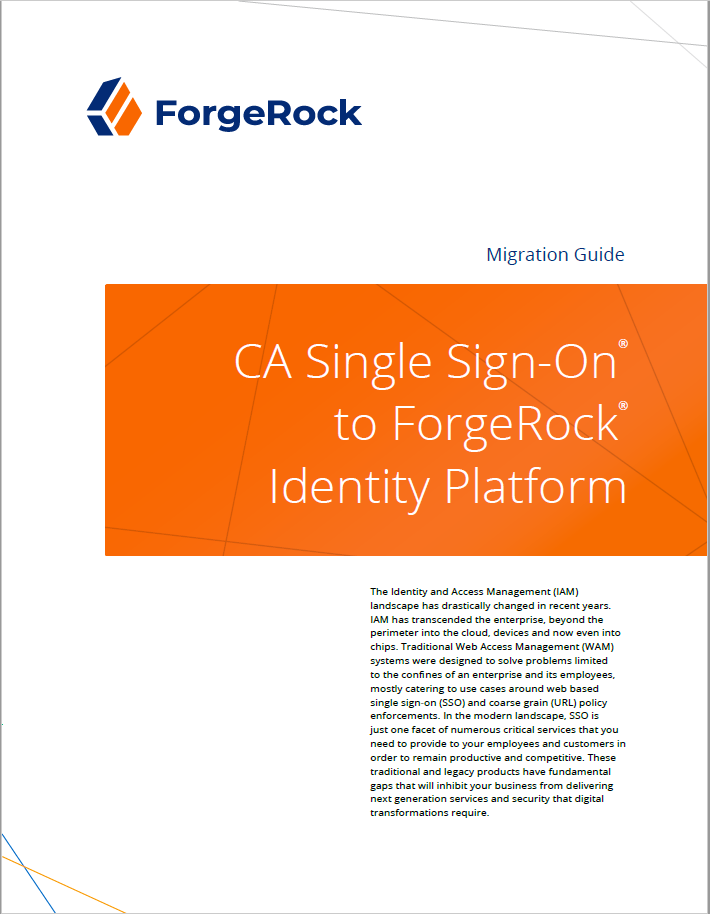 CA Single Sign-On® sur la plate-forme d'identité ForgeRock