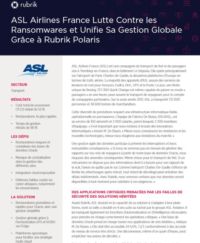 ASL Airlines France lutte contre les ransomwares et unifie sa gestion globale
