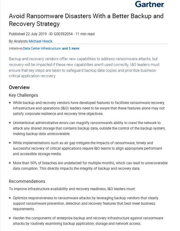 Rapport Gartner – Éviter les sinistres liés à une attaque de ransomware grâce à une meilleure stratégie de sauvegarde et restauration