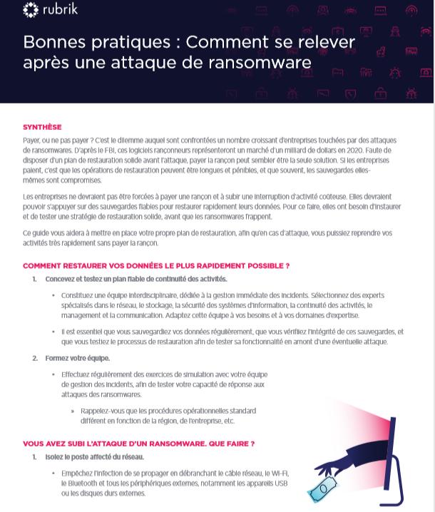 Guide des bonnes pratiques : Comment se relever après une attaque de ransomware