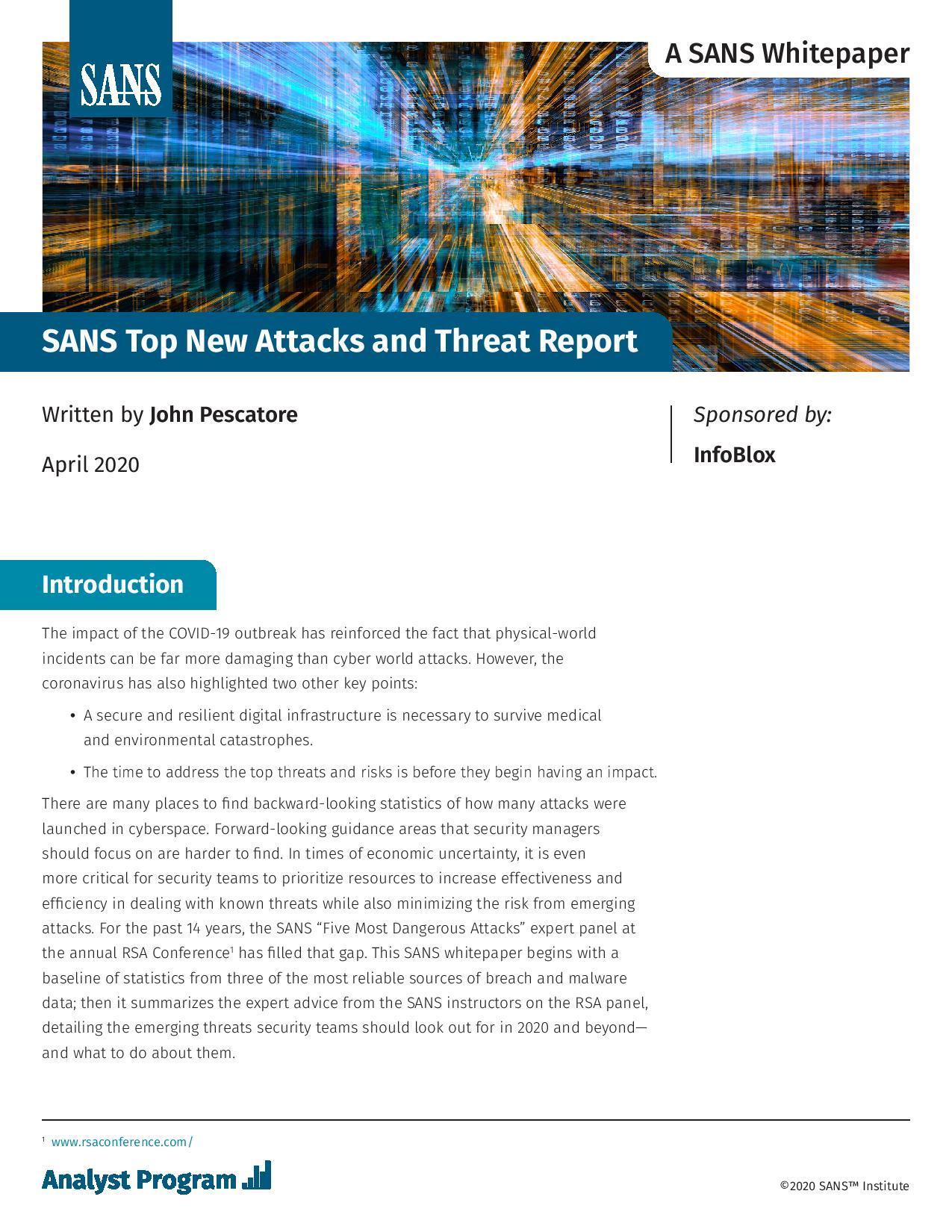 Rapport de SANS sur les attaques et les menaces informatiques actuelles