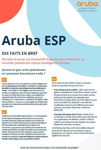 Aruba ESP – Dix faits en bref