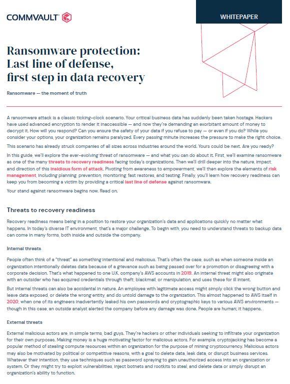 Ransomware protection: Dernière ligne de défense, première étape de la récupération des données