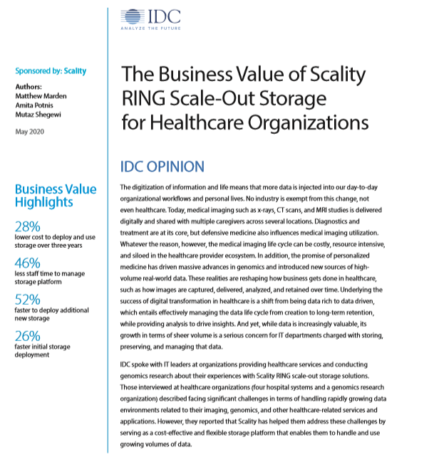 Retour d'expérience des organismes de santé sur RING, le système de stockage Scale Out de Scality