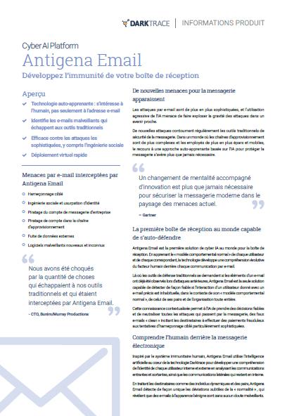 Antigena Email. Développez l'immunité de votre boîte de réception