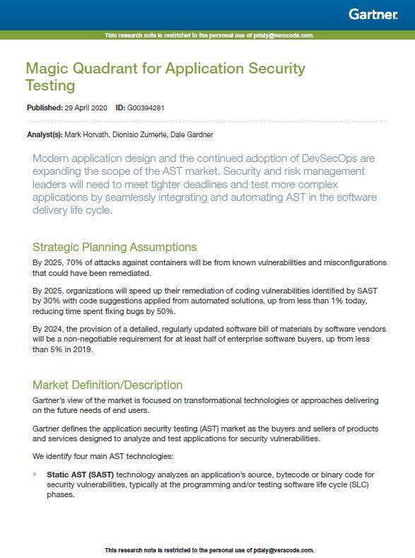 Quadrant magique pour les tests de sécurité des applications