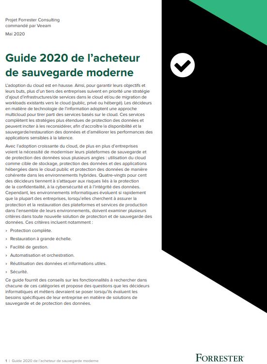 Guide 2020 de l'acheteur de sauvegarde moderne