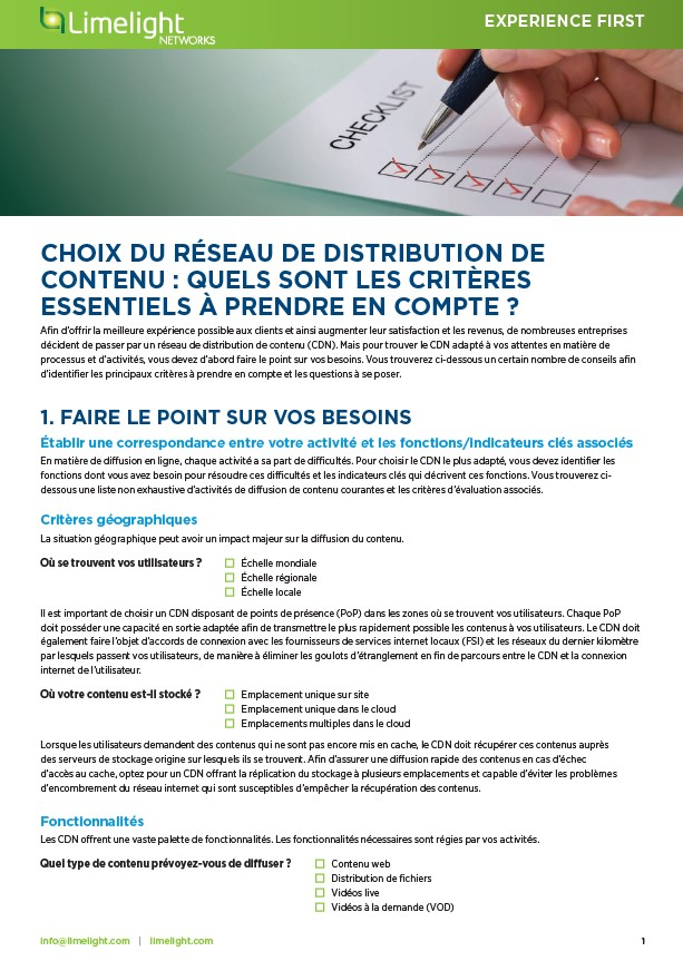 Choix du réseau de distribution de contenu : quels sont les critères essentiels à prendre en compte ?